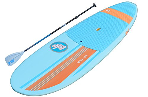 ISLE Versa Epoxy 10'5 Standup Paddle Board (4.5' Thick) SUP Package | Includes Adjustable Paddle Carbon Shaft Nylon Blade, Carry Handle, Center Fin - Blue