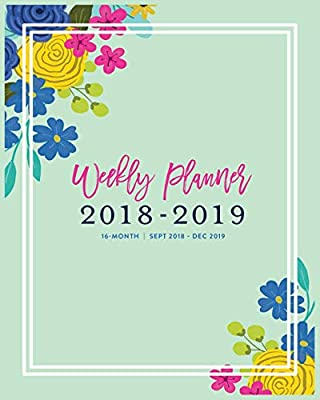 Weekly Planner 2018 - 2019, 16 Month: Turquoise Cute Floral ...