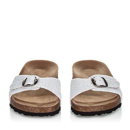 Sandalias Blancas de Piel Con Planta Anatómica de Mujer