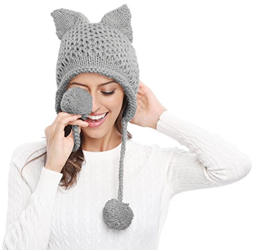 Bellady Winter Cute Cat Ears Knit Hat Ear Flap Crochet Beanie Hat,Light Grey (Womens Earflap)
