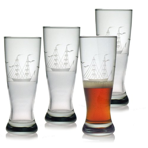 Etched Pilsner - Susquehanna Glass Clipper Ship Sand Etched/Hand Cut Grand Pilsner Glasses, Set of 4, 20 ounces