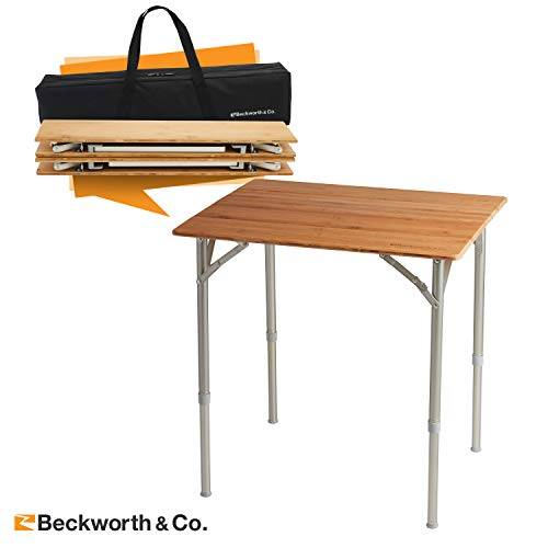 Beckworth & Co. SmartFlip Bamboo Portable Outdoor Picnic Folding Table with Adjustable Height & Carry Bag - Standard