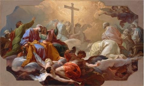 - Oil Painting 'Corrado Giaquinto,Adoration Of The Holy Cross On The Day Of The Last Judgment,1740-1742' 20 x 33 inch / 51 x 85 cm , on High Definition HD canvas prints, Game Room, Kids Room, Ki decor