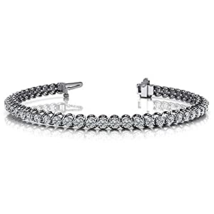 18K White Gold Diamond Round Brilliant Prong Set Tennis Bracelet (4.08ctw.) - Size 7