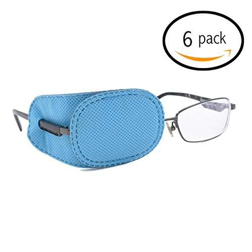 5e3383aa82d9 FCAROLYN 6pcs Eye Patch for Glasses to Treat Lazy Eye / Amblyopia /  Strabismus,Blue