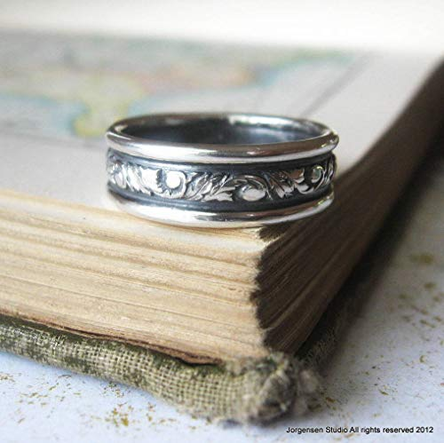 Mens Wedding Band in Sterling Scroll and Acanthus Leaf