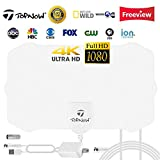 HDTV Antenna, Indoor Amplified HD Digital TV Antenna 130 Mile Range Support 4K 1080p and All TVs with Detachable Amplifier - 16.5ft Longer Coax Cable - White