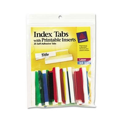 Tabs File Adhesive Hanging Printable (Avery Consumer Products Products - Self-Adhesive Tabs W/Laser Printable Inserts, 2amp;quot;L, Assorted - Sold as 1 PK - Precut plastic tabs with inserts can be typed, handwritten or laser printed. Feed 4amp;quot; x 10amp;quot; sheets through envelope feeder on printer, then separate individual tabs. Adhesive is permanent. Avery offers many easy-to-use templates for Microsoft Word and other popular software programs. Each index tab offers a 1/3amp;quot; tab extension.)