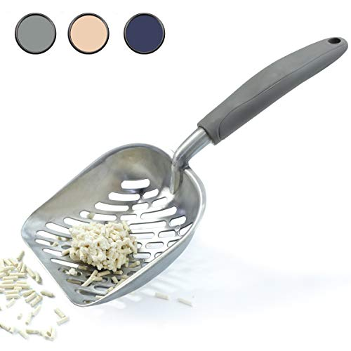 - Vivaglory Cat Litter Scoop, Durable Metal Litter Scoop for Kitty, Sifter with Deep Shovel and Ergonomic Handle, Made of Heavy Duty Solid Aluminum, Jumbo Size, Grey