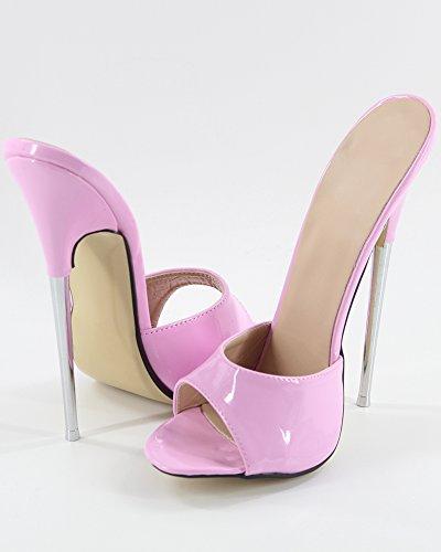 Femmes Sur Sandales 7 Du Sexy Stiletto Les Brevets Fétiche Métal En Wonderheel Rose Talon Sandales Glissement vaRqRw0