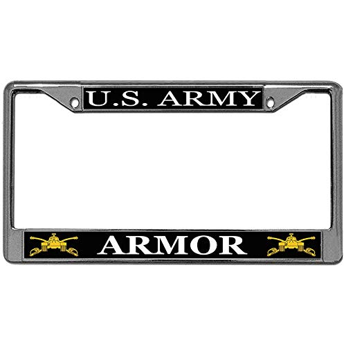 US Army Armor Car License Plate Frame, US Military Stainless Steel Car Auto Tag Frame