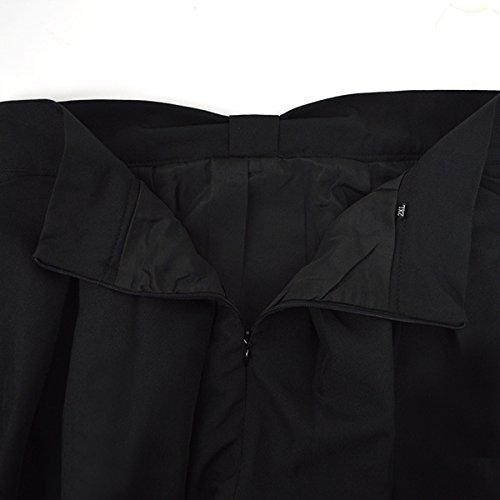 Aisa Jupe Plissée Parapluie Femmes De Mode De Cru Genou Élevé Fermeture À Glissière Une Ligne Robe Noire