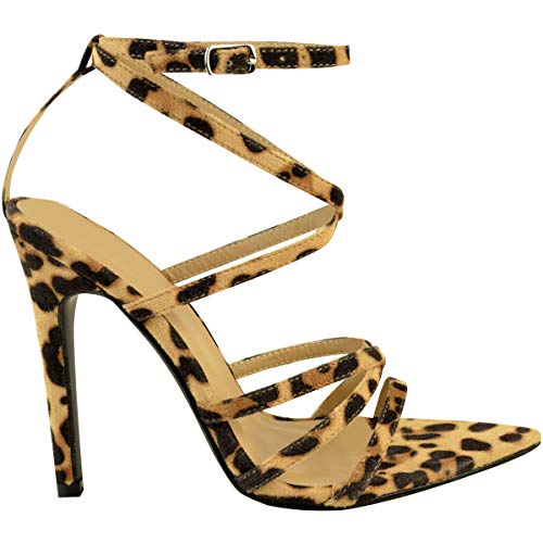 heelberry Fashion Sintetico There da Leopardato Thirsty Sandali Alto Cinturino Caviglia con Festa da Scarpe Camoscio Barely Sposa Donna Tacco rIr5UF