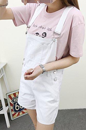 Pantaloncini Cotone Casual Le Fasumava Jeans Donne Beachwear Di White Solido Estate Salopette x1T0Awg