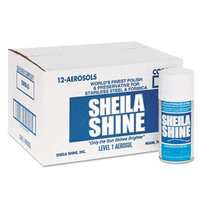 Sheila Shine Stainless Steel Cleaner - Sheila Shine Stainless Steel Cleaner & Polish, 10 oz. Aerosol Can, 12/Carton