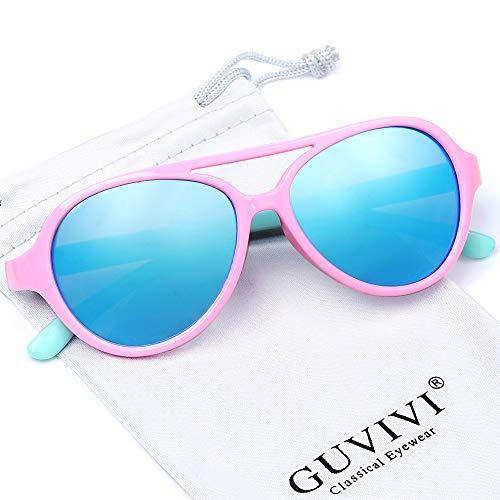 GUVIVI TPEE Polarized Rubber Flexible Toddler Kids Aviator Sunglasses for Boys Girls&Children Age 3-10 (Pink&Green)]()