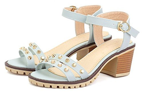 Aisun Womens Hot Studded Open Toe Buckle Block Kitten Heels Sandals Shoes With Ankle Straps Blue Kw2BZ8pz