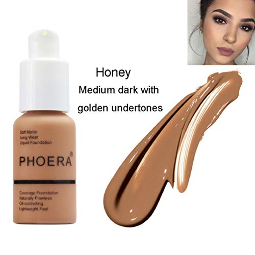 PHOERA Foundation Makeup, Firstfly 37ml Matte Oil Control Concealer Foundation Cream, Long Lasting Waterproof Matte Liquid Foundation