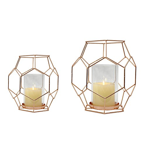 Adeco Rose Gold Metal Candle Holder Stand, Set of 2