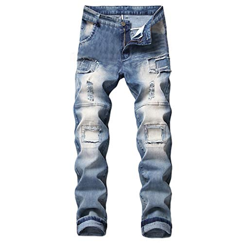 NUWFOR Men's Stretchy Ripped Skinny Biker Jeans Destroyed Taped Slim Fit Denim Pants(Blue,US:42/AS:42 ()
