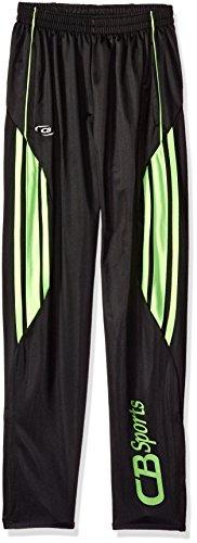 CB Sports Big Boys' Active Performance Tricot Soccer Pant, UU48-Black/Neon Lime, 14/16 (Tricot Pant)
