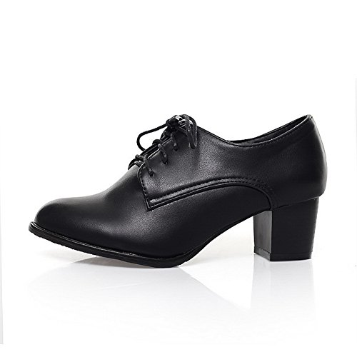 Balamasa Dames Veters Verstelbare Riem Dikke Hielen Urethaan Oxfords-schoenen Zwart