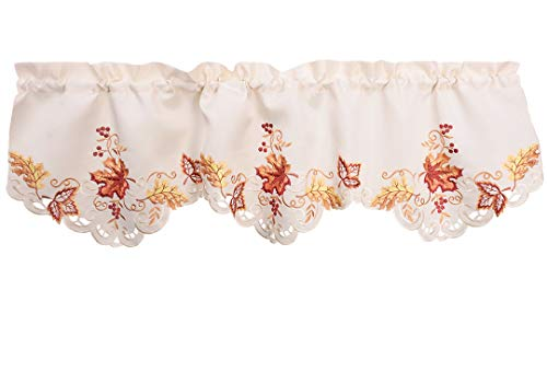 Grelucgo Elegant Thanksgiving Holiday Embroidered Maple Leaves Window Curtains Valance Fall Autumn Decorations 59 X 18 Inch (Fall Kitchen Curtains)