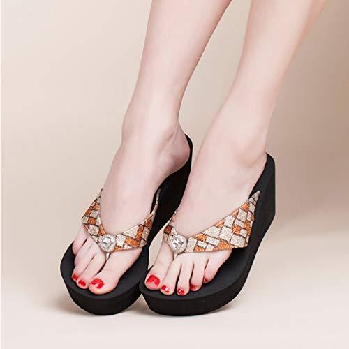 Color Slippers Beach Size Summer Orange heeled Women's High Sandals Muffin Flip ORANGE 37EU Slope AMINSHAP flops wII1rRqPg