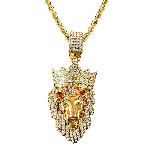 HH Bling Empire Mens Hip Hop Bling Iced Out 14K Gold Artificial Diamond Lion Head Pendant cz Tennis Chain Necklace 22 Inch (Lion E & Rope) ()