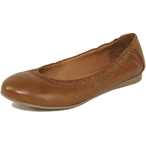 (alpine swiss Womens Vera Ballet Flats European Made Leather Shoes Tan 10 M US)
