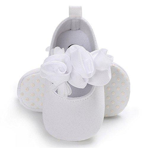 BENHERO Baby Infant Girls Soft Sole Floral Princess Mary Jane Shoes Prewalker Wedding Dress Shoes(11cm(0-8 Months),White) by BENHERO
