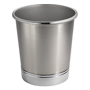 MetroDecor mdesign Steel Wastebasket Trash Can for Bathroom/Office/Kitchen, Brushed Nickel/Chrome