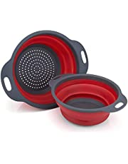 GCBTECH Opvouwbaar vergiet met handvat, 2 stukken opvouwbare siliconen zeef Keuken camping accessoires, Giet pasta rijst groenten fruit af