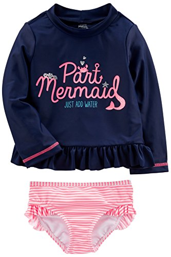 (Simple Joys by Carter's Baby Girls' Toddler 2-Piece Rashguard Set, Navy/Pink, 3T)