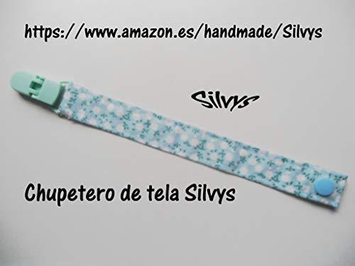 Chupetero de tela con clip Silvys, de color azul con flores ...