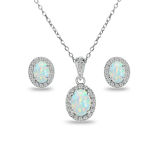 GemStar USA Sterling Silver Simulated White Opal and White Topaz Oval Halo Necklace and Stud Earrings Set