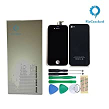 Fixcracked Replacement Full Set Front LCD Display & Touch Screen Digitizer Assembly + Back Cover Housing + 8pcs Repair Opening Tools Kit Compatible for Iphone 4s GSM/CDMA A1387 -Black