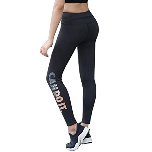 Women Skinny Leggings Yoga Pants Solid High Waist Elastic Yoga Fitness Sports Pants (S, Black) from Goodtrade8