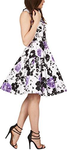 Black Butterfly Robe Années 50 Rétro Serenity Luna (Blanc & Violet, FR 38 - S)