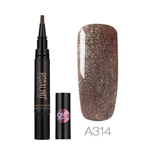 Longay Rosalind Newest 3 in 1 Gel Nail Varnish Pen Glitter One Step Nail Gel 24 Colors (X)