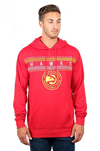 NBA Atlanta Hawks Men's Fleece Hoodie Pullover Sweatshirt Poly Midtown, Medium, Red