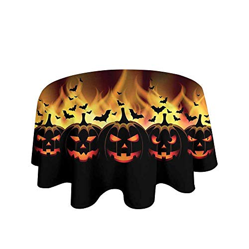 Curioly Vintage Halloween Waterproof Anti-Wrinkle no Pollution Happy Halloween Image with Jack o Lanterns on Fire with Bats Holiday Table Cloth D47 Inch Black -