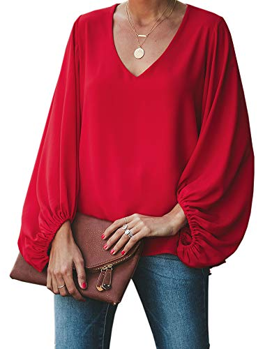 Ofenbuy Womens Chiffon Blouses Puff Long Sleeve V Neck Elegant Casual Oversized Shirts Tops Red