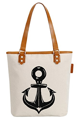 So'each Women's Ship's Anchor Canvas Tote Pearly Top Handle Shoulder Bag
