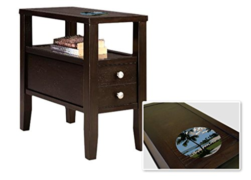 New Cappuccino / Espresso Finish Wooden End Table Night Stand with Drawer featuring Hawaii by The Furniture Cove
