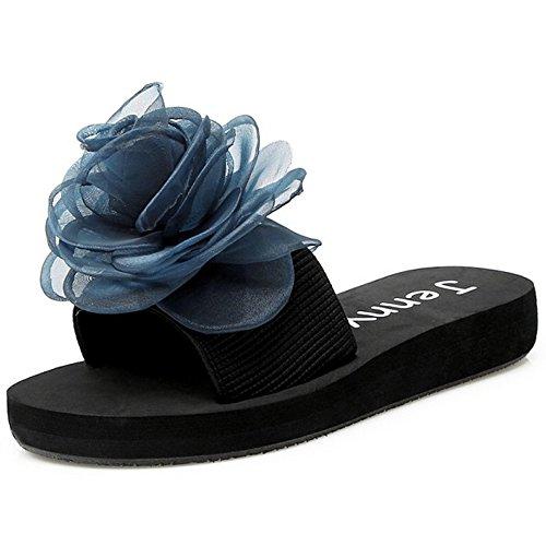 Des Femmes Glissent Pantoufle Fleur Avec Plates Bleue Sandales Sur Été Taoffen Plage tCOWwdqq