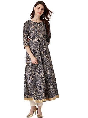 Dream Angel Fashion Women Dress Kurti Beige & Black Printed Anarkali Kurta (Medium)