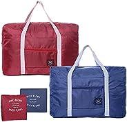 Bixzegg 2 Pack Foldable Travel Duffle Bag 25L Lightweight, Luggage Sports Gym Water Resistant Nylon, Sport Tot