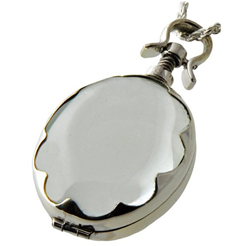Memorial Gallery 5004s Sterling Silver Victorian Glass Oval Scalloped Locket Cremation Pet Jewelry