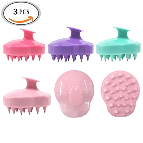 3Pcs Hair Scalp Brush Shampoo Massagers, Head Neck Silicone Comb Bath Shower Brush for Hair Growth, Relaxing Scalp Muscle & Reducing Stress (Color Random) by DAXUN